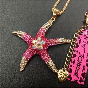 Betsey Johnson starfish long crystal necklace NWT